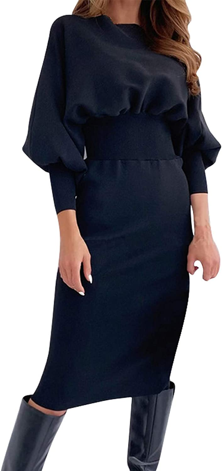 hymyyxgs Women's Long Sleeves Round Neck Slim Dress Knitted Tie Waist Pencil Dress