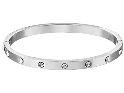 Kate Spade New York Set in Stone Stone Hinged Bangle (Clear/Silver) Bracelet