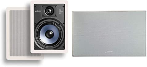 Polk Audio RC65i 2-way 6.5-inch In-wall Speakers (Pair) with 255C-RT Center Channel In-wall Speaker From The Vanishing Series | Easily Fits, Looks Minimal, Gives Out Great Sound | Paintable Grille