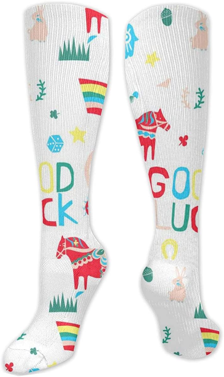 Red Horse Rainbow Knee High Socks Leg Warmer Dresses Long Boot Stockings For Womens Cosplay Daily Wear