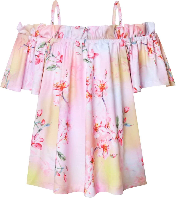 Mirawise Girls Off Shoulder Shirts Summer Tee Cold Shoulder Ruffle Top Short Sleeve Tunic T-Shirt 6-13Y