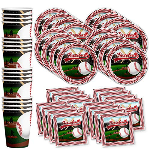 Baseball Star Birthday Party Supplies Set Plates Napkins Cups Tableware Kit for 16