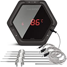 Inkbird IBT6XS Black 6 Probes Bluetooth Digital Meat Thermometer with Rechargeable Battery Oven Cooking Kitchen Camping Stove Candy Sugar Temperature Measure App Remote …