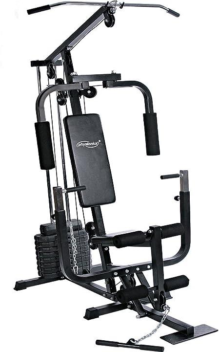 Stazione fitness - panca con lat machine, chest press,curl per gambe, macchina pettorali,cavo basso physionics NST01