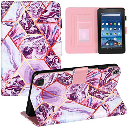 Shinyzone Marble Leather Flip Case Compatible for Amazon Fire 7 2019/2017/2015 with Pencil Holder,Multi-Angle Viewing Stand Smart Cover with Auto Sleep/Wake Function,Purple