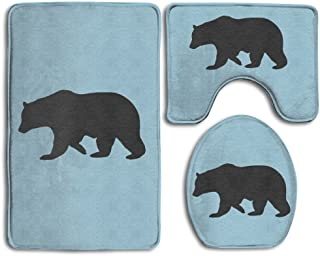 IRTNLZ Black California Bear Bathroom Carpet Rug,Soft Flannel Non-Slip 3 Piece Bathroom Mat Set