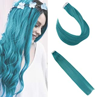 Ugeat Tape in Seamless Human Hair Extensions 25gram 10PCS Glue on Hair Teal Color 14inch Skin Weft Adhesive Tape in Hair Extension