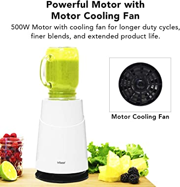 Tribest PB-430WH-A Ready Personal 2 with Mason Jar Blending Mug Blender, One Size, WHITE