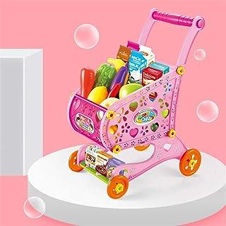 ショッピングカートの子供のスーパーマーケットのトロリーおもちゃ幼稚園19点セットままごとのおもちゃの野菜果物セットパズルの男性と女性の赤ちゃん,ピンク