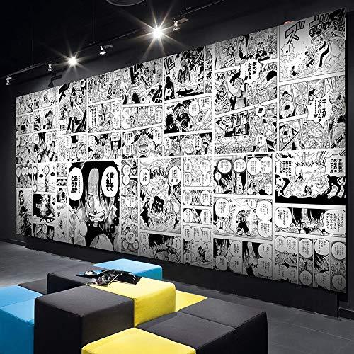 One Piece Anime Benutzerdefinierte Fototapete Wandbild Wallpaper Mural Wand Tapete Wandkunst Raumdekor Schwarzes Weißes Komisches Jungenschlafzimmercafé Des Hintergrundwandbildes 3D 350Cmx256Cm