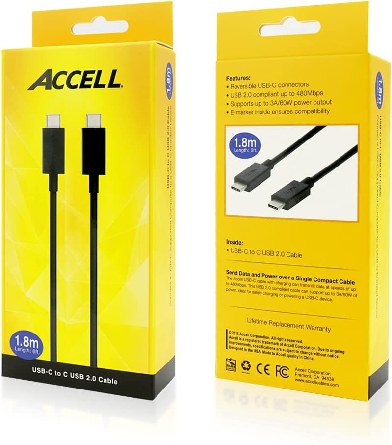 10 Gbps - 3.3 Feet - Retail Box Accell USB-C to C Cable 1 Meter USB-IF Certified SuperSpeed+ USB 3.1 Gen 2