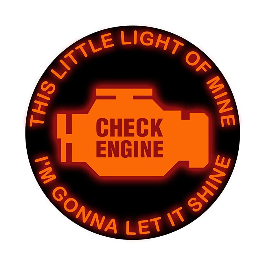 This Little Light of Mine I'm gonna let is Shine Check Engine - Vinyl Decal for Outdoor Use on Cars, ATV, Boats, Windows and More - Color 6 inch