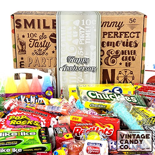 HAPPY ANNIVERSARY CARE PACKAGE FOR MEN OR WOMEN - Fun, Unique & Tasty Candy Assortment For Anniversary Celebration Year - PERFECT for Family, Friend, Couple, Associate, Co-Worker - Him or Her