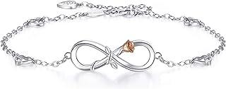 BlingGem Bracelet de Cheville pour Femme Argent 925/1000 Zirconium Rond Infini Coeur Ensemble pour Toujours Cheville Cadea...