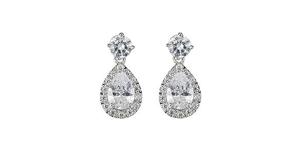 Wiwiw Cubic Zirconia Bridal Earrings with Teardrop Pear Shape Small Drop Dangle Earring Fashion Jewelry