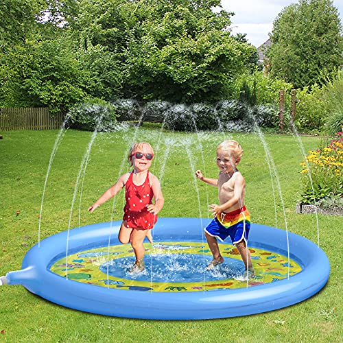 Glymnis Splash Pad, 170cm Sprinkler Wasser-Spielmatte, Blasen Splash Play Matte,Sprinkler Matte, Sommer Garten Sprinklerpool Wasserspielzeug für Kinder, Baby und Haustiere