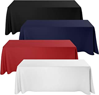 Deluxe Stretch Fit Tablecloths 6 Foot Custom Logo Available in Blue Black Red & White (Normal, White)