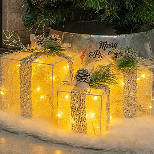 Hourleey Set of 3 Christmas Lighted Gift Boxes, Pre-lit 60 LED Light Up Present Boxes Ornament Outdoor Warm White Tinsel Boxes Decoration for Indoor Christmas Home Yard Lawn Decor
