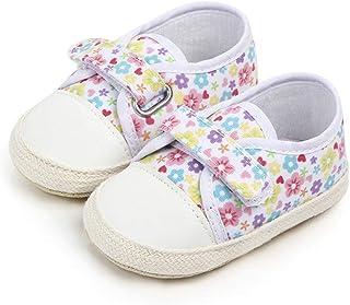 Nagodu Zapatos Casual para Bebe niña Blancos con Flores de Colores y Velcro, Hermosas Mini Flores, Diferentes Tallas