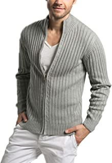 Lentta Men's Long Sleeve Stand Collar Full Zip Up Solid Cotton Cardigan Sweater