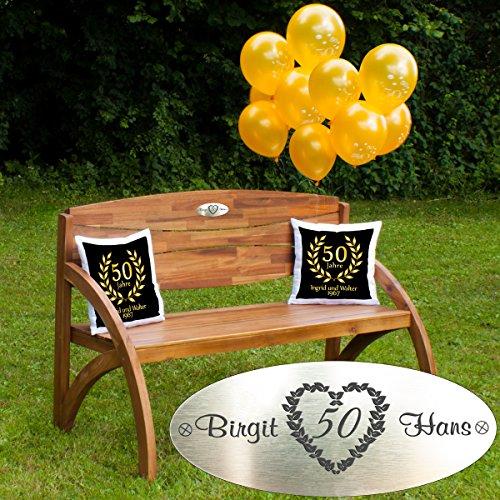 Gouden bruiloft - set: houten tuinbank met gepersonaliseerde gravureplaat, luchtballonnen en twee kussens cadeauset - persoonlijke geschenken voor gouden bruiloft Kussen - zwart
