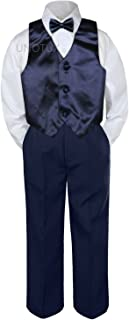 Leadertux 4pc Baby Toddler Boys Navy Blue Vest Bow Tie Navy Blue Pants Suits S-7 (2T)