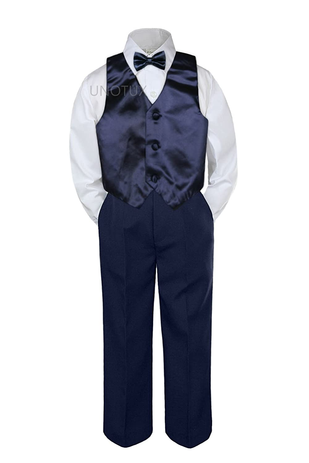 Leadertux 4pc Cash special price Baby Toddler Boys Tie Blue Navy Safety and trust Vest Bow
