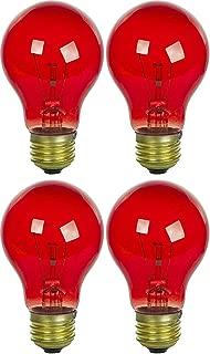 4 Pack 40 Watt A19 Colored Transparent Red Incandescent Medium Base Party Light Bulb