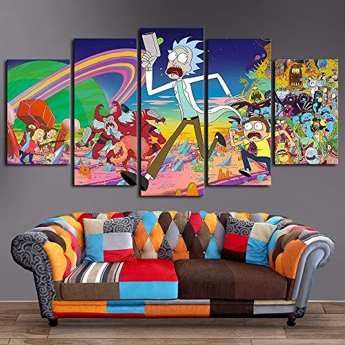 5 Stücke Rick und Morty Poster Modern Malerei auf Leinwand Modular Kunstwand HD gedruckt Bild Wohnzimmer Haus Dekoration,B,30×50×2+30×70×2+30×80×1