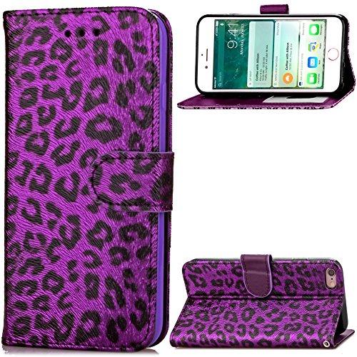 QFUN Leder Hülle für iPhone 6/6S mit Leoparde Muster, Schön Wild Leopardn Motiv Design Magnetverschluss Ständer Handyhülle Klappbar mit Kartenfach Stoßfest Schutztasche mit Handschlaufe - Lila