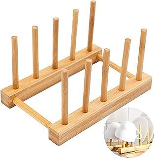 Cuisine Plaque Bambou Egouttoir Bol Support Bambou Assiettes Rack Plateau Rangement Porte Vaisselle Égouttoir En Bambou Po...