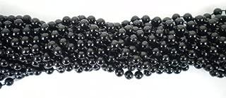 33 inch 07mm Round Black Mardi Gras Beads - 6 Dozen (72 Necklaces)