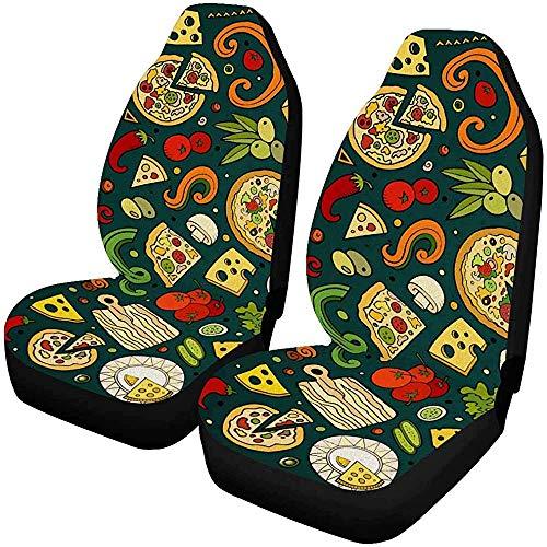 Beth-D Sitzbezüge-Set für Autositze, Pizzeria, komplettes Set, 2 Sitzbezüge, für Autositze, nur für Vordersitze, universal, passend für 14-17 Zoll
