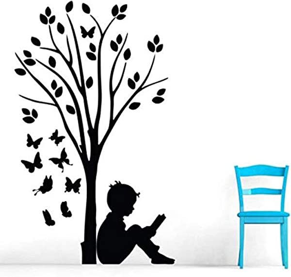 Boy Reading Under Tree Butterflie Removable Home D Cor Wall Decals Mural Decor Vinyl Z5235