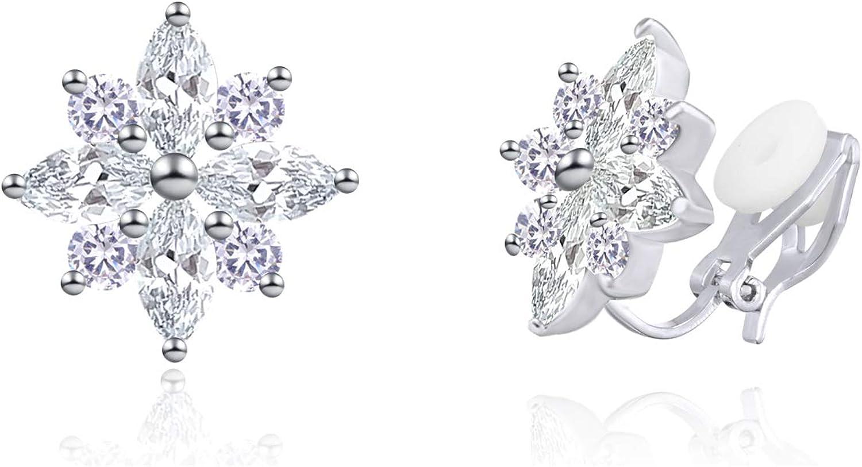 YOQUCOL Flower Snowflake Shape Cubic Zirconia Crystal Clip On Earrings CZ Not Pierced Ear Jewelry For Women Girls