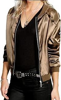 Women Baseball Coat Shiny Lightweight Front-Zip Casual Slim Fit Jackets