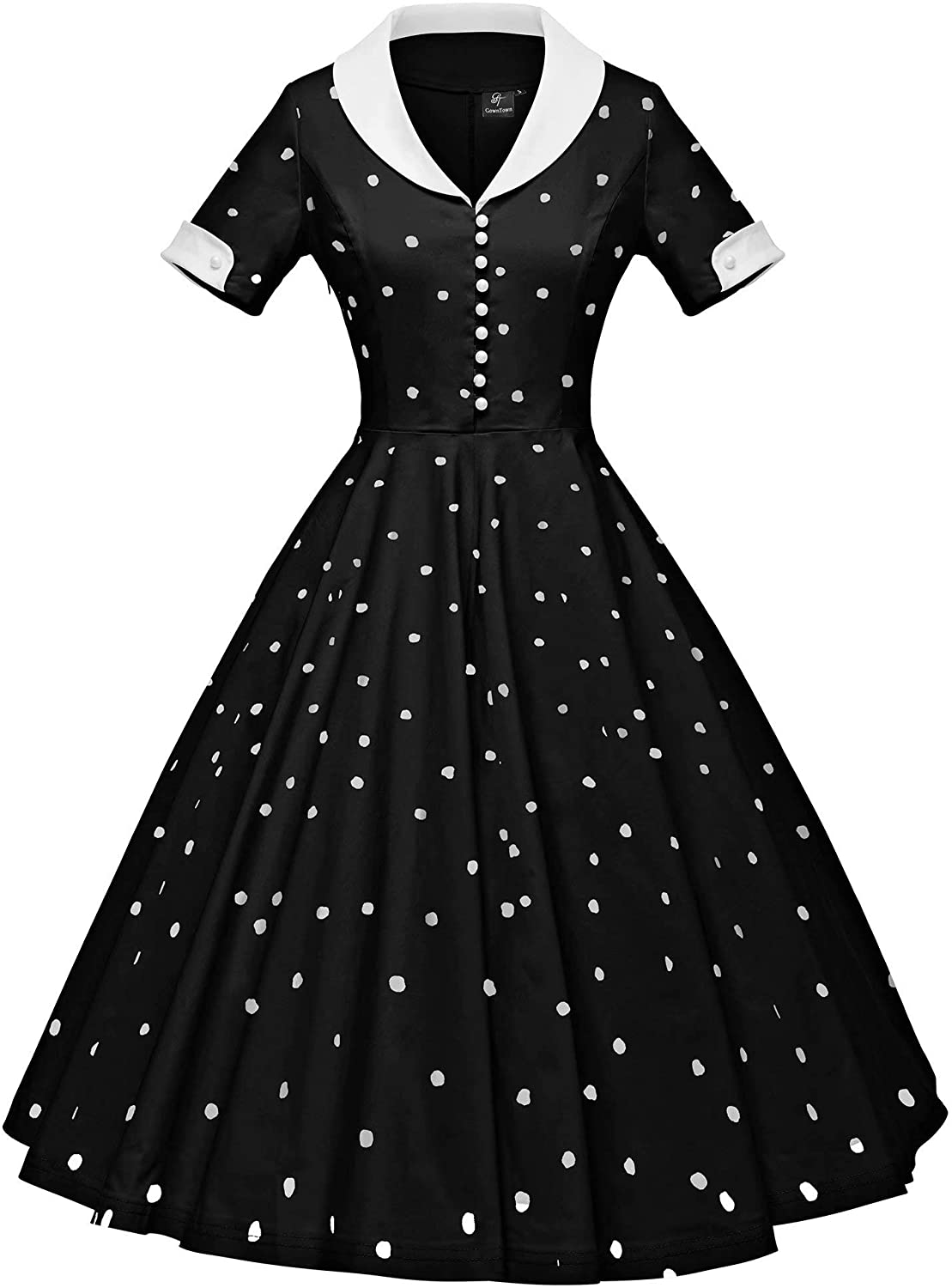 Pin Up Girl Costumes | Pin Up Costumes GownTown Womens 1950s Cape Collar Vintage Swing Stretchy Dresses  AT vintagedancer.com