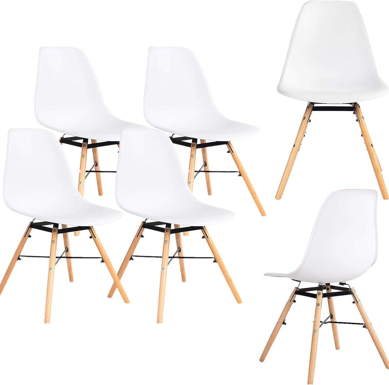 Ellexir Esszimmerstuhl 2 4 6er Set Modern Bürostuhl Kunststoff Stuhl (Wei, 6)