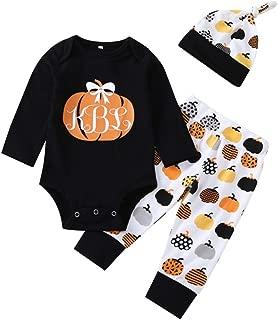 iLOOSKR Halloween Outfits Set Infant Baby Girls Boys Pumpkin Print Long Sleeve Romper Jumpsuit Pants