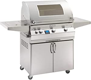 Fire Magic Aurora Series 30-Inch Grill on Cart with Single Side Burner (A660s-5E1P-62-W), Digital Thermometer, Magic View Window, Propane