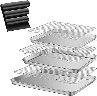 Plateaux de cuisson en inox 304 avec grille de cuisson épaisse,non magnétique,acier inoxydable de qualité alimentaire,plat...