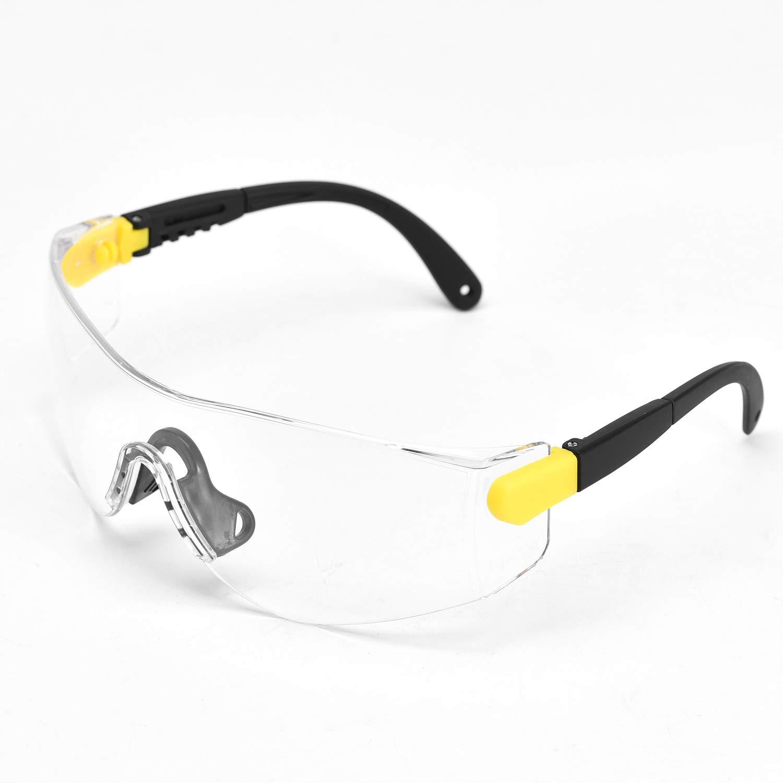 SAFEYEAR Gafas de Protección Antivaho Patillas Ajustables - SG009 Anteojos Gafas Protectoras Laboratorios con Cinta Ajustables (Amarillo)