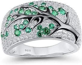 Koolee Full Diamond Wedding Rings, Luxury Full Diamond Unique Creative Green Plum Branch Ring Jewelry Gift
