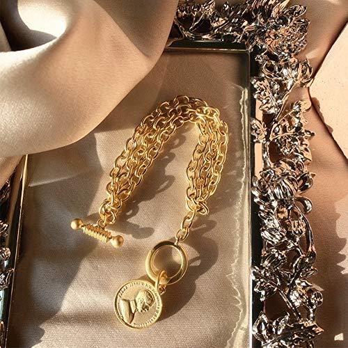 AJH Klassisches Retro-Armband aus hochmattem Gold, rundes Münz-Armband aus Avatar-Temperament