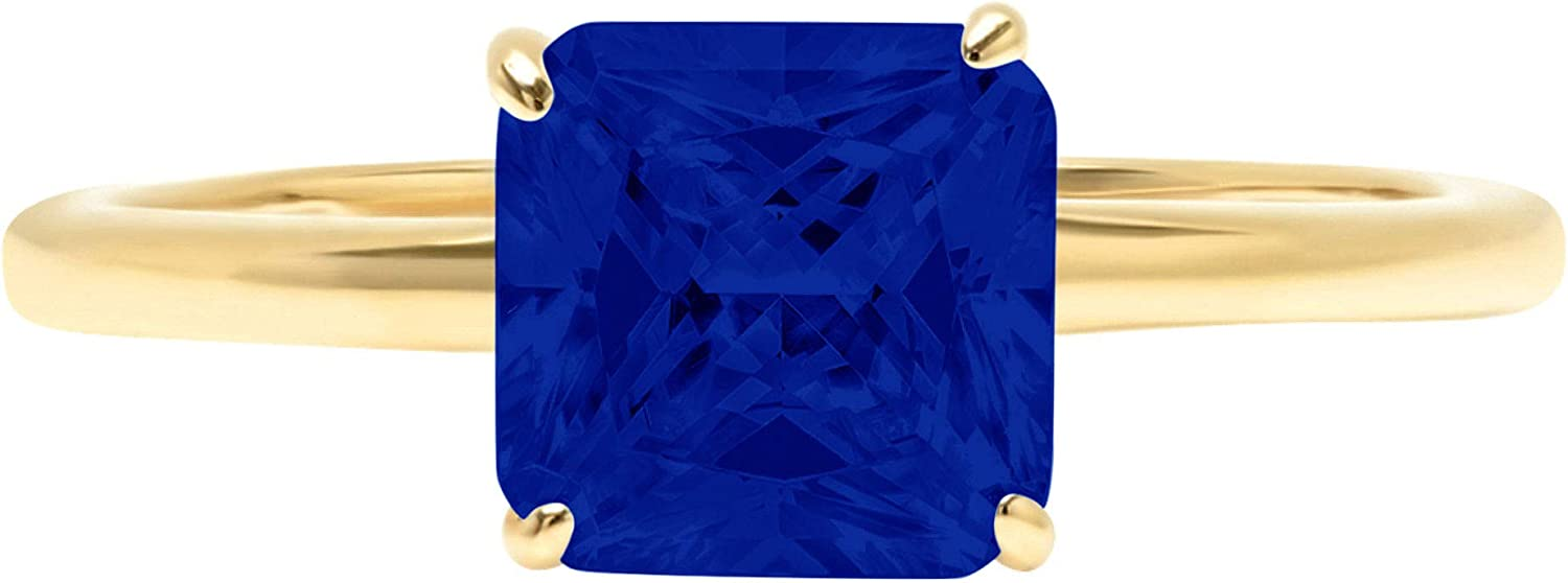 1.0 ct Brilliant Asscher Cut Solitaire Flawless Simulated Blue Sapphire Ideal 4-Prong Engagement Wedding Bridal Promise Anniversary Designer Ring Solid 14k Yellow Gold for Women