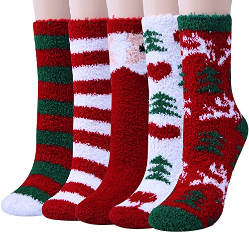 Loritta 5 Pairs Womens Fuzzy Christmas Socks Warm Soft Cozy Fluffy Slipper Socks Gifts