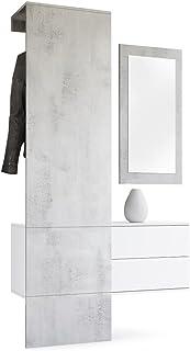 Vladon Vestiaire Garderobe Carlton Set 2, Corps en Blanc Mat/Panneau portemanteau et Miroir en Aspect Béton Oxyde