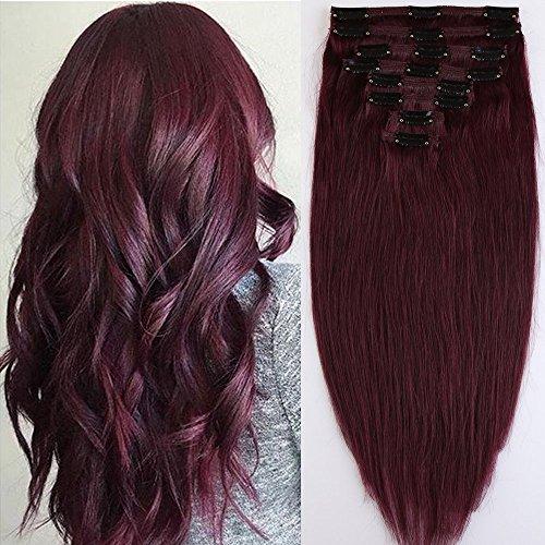 8 Mèches Extensions de Cheveux Humains a Clips Naturels #99J Vin rouge - Double Epaisseur (Double Weft) - 100% Remy Hair (45cm-140g)