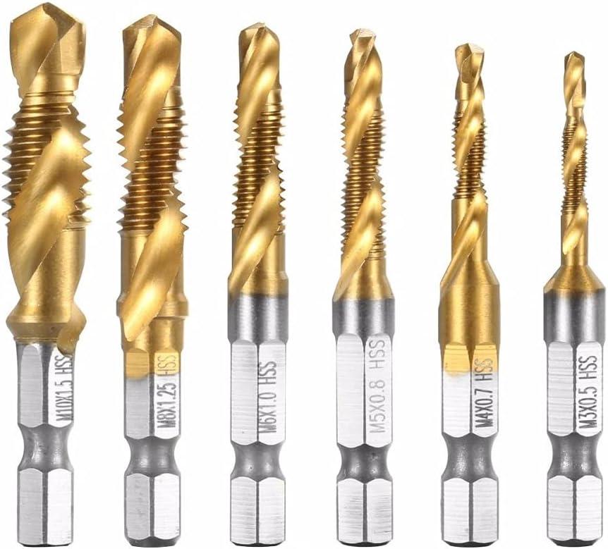 Drill Bits 6pcs Nashville-Davidson Mall set Spiral Pointed HSS 6542 Thread Manufacturer OFFicial shop Taps Tapping