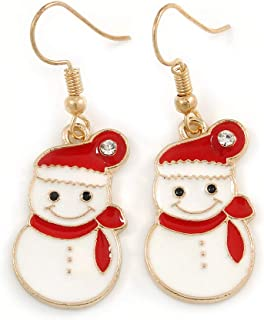 Christmas Snowman Red/White Enamel Drop Earrings In Gold Tone - 45mm Tall